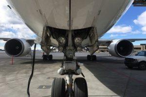United Pilots of WestJet nose landing gear view